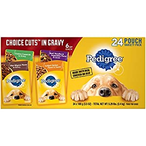 PEDIGREE Choice Cuts Adult Dog Wet Food Variety Pack – with Filet Mignon, Grilled Chicken, Chicken Casserole, and Beef Noodle, 3.5 Ounce Pouches (24-Pack)