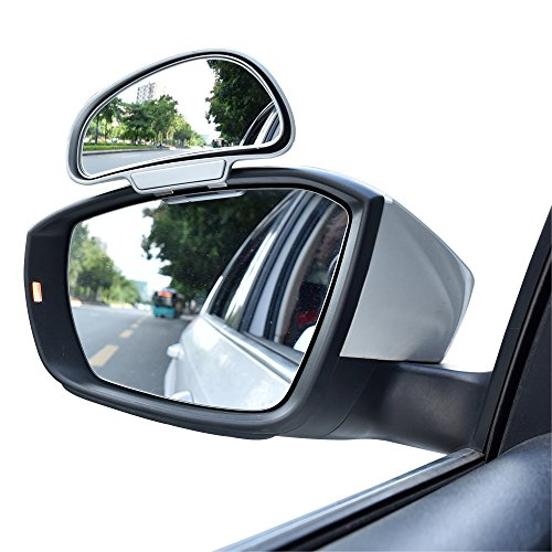 YASOKO 360 degree adjustable Wide Angle Side Rear Mirrors blind spot Snap way rear view mirror universal (Left, Silver)