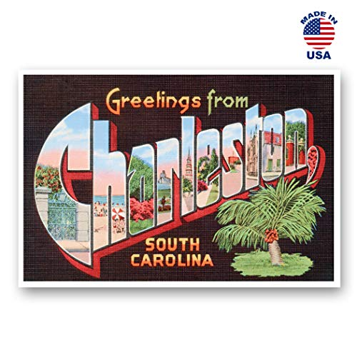 GREETINGS FROM CHARLESTON, SC vintage reprint postcard set of 20 identical postcards. Large Letter Charleston, South Carolina city name post card pack (ca. 1930's-1940's). Made in USA.