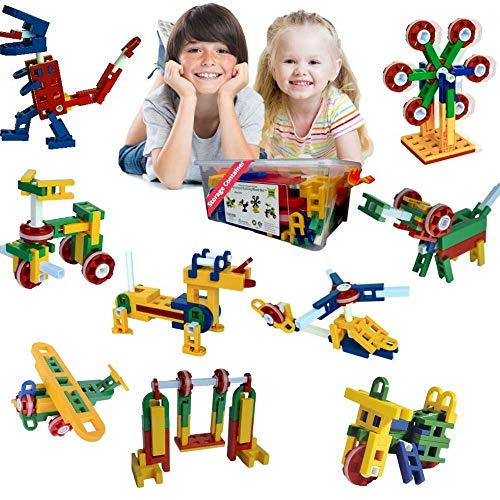 Whirligig STEM Toys for Girls & Boys   Building Blocks for 5 Year Old+   Creative Construction Educational Engineering Set   106 Pieces   Best Kids Gift Kit for Ages 5, 6, 7, 8, 9, 10 Yr.