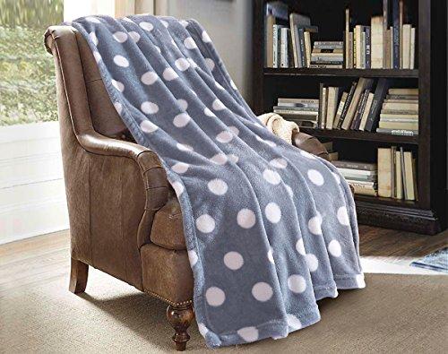 "Jml Plush Throw Blanket 50"" x 60 Coral Fleece Blanket – Soft Warm, Lightweight All Season Couch Sofa Blanket (Polka Dot Grey, Throw) (Polka Dot Fleece)"