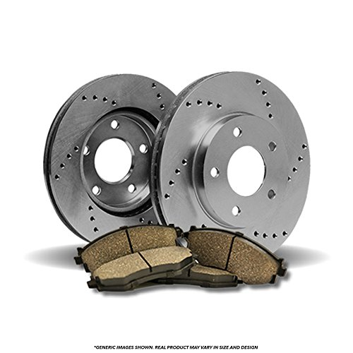 (Front Kit) 2 OE SPEC Cross Drilled Brake Rotors & 4 Ceramic Pads(6lug) - 02 Ford Expedition Spec