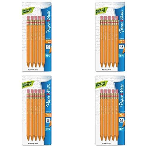 4 PACKS: Paper Mate Mates 1.3mm Mechanical Pencils, 5 Yellow Barrel Mechanical Pencils (1862167)