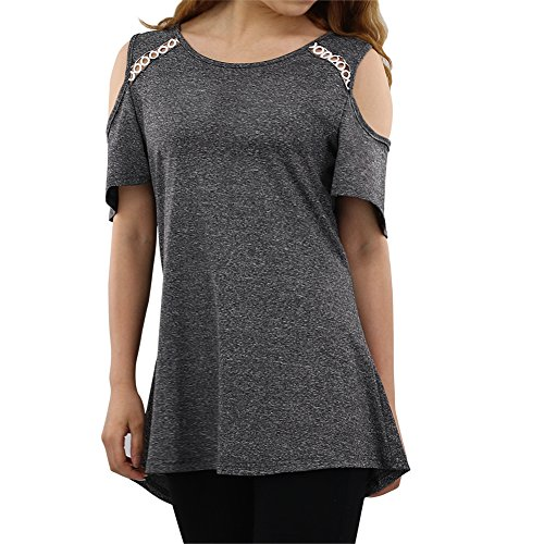 NASKY Womens Cold Shoulder Tops Cute Tops Short Sleeve Casual Round Neck Loose Blouse Tunic Summer Shirts