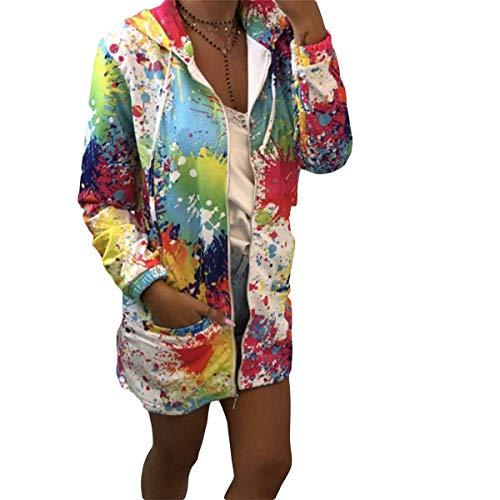 con Sudadera con cremallera Desgastar cordón y capucha floral capucha Ropa de con y estampado bolsillo White Sudadera con abrigo x8fwt