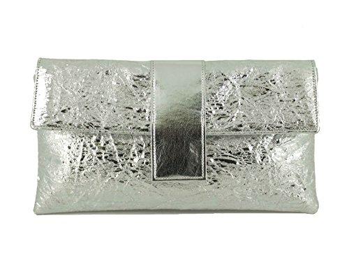 Pochette Sac à Main Sac d'Épaule Elegant en Faux Daim Sac de Soirée de Mariage metallic silver