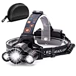 Headlamp,Cobiz Brightest High 6000 Lumen LED Work Headlight,18650 USB Rechargeable Waterproof Flashlight with Zoomable Work Light,Head Lights for Camping, Hiking, Outdoors