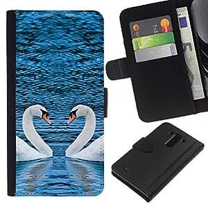 LG G3 D855 D850 D851 , la tarjeta de Crédito Slots PU Funda de cuero Monedero caso cubierta de piel (Picturesque Two Swans Heart)