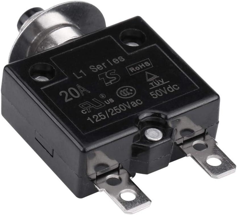 10A DC 50V AC 125-250V Thermoschalter mit manueller R/ückstellung Leistungsschalter /Überstrom /Überlastschutz Duokon Leistungsschalter