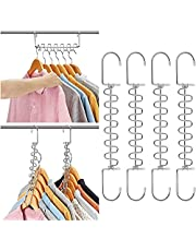 12 Slots Rotatable Metal Storage Hangers for Horizontal Vertical Clothes Hanging, Anti Skid Scratch-Proof Design Wardrobe Closet Dorm Room Space Saving Organizer, 4 Pack