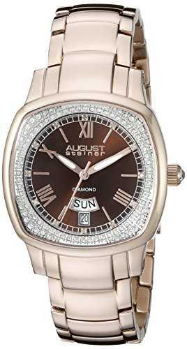 August Steiner Women's AS8193RGBR Rose Gold Swiss Quartz Watch with Brown Dial and Rose Gold Bracelet ()