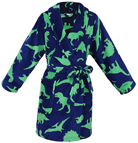 EPYA Kids Boys Girls Teens Plush Kimono Robe Velvet Fleece Bathrobe, XL