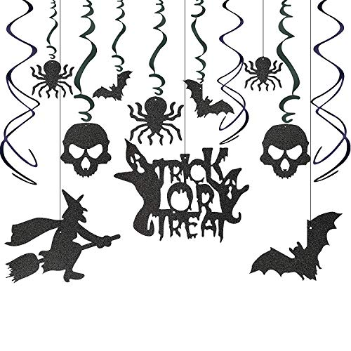 Cute Indoor Spooky Halloween Party Decorations For Kids - Hanging Swirls Flying Witch Spider Bat Skull Trick or Treat Cutouts