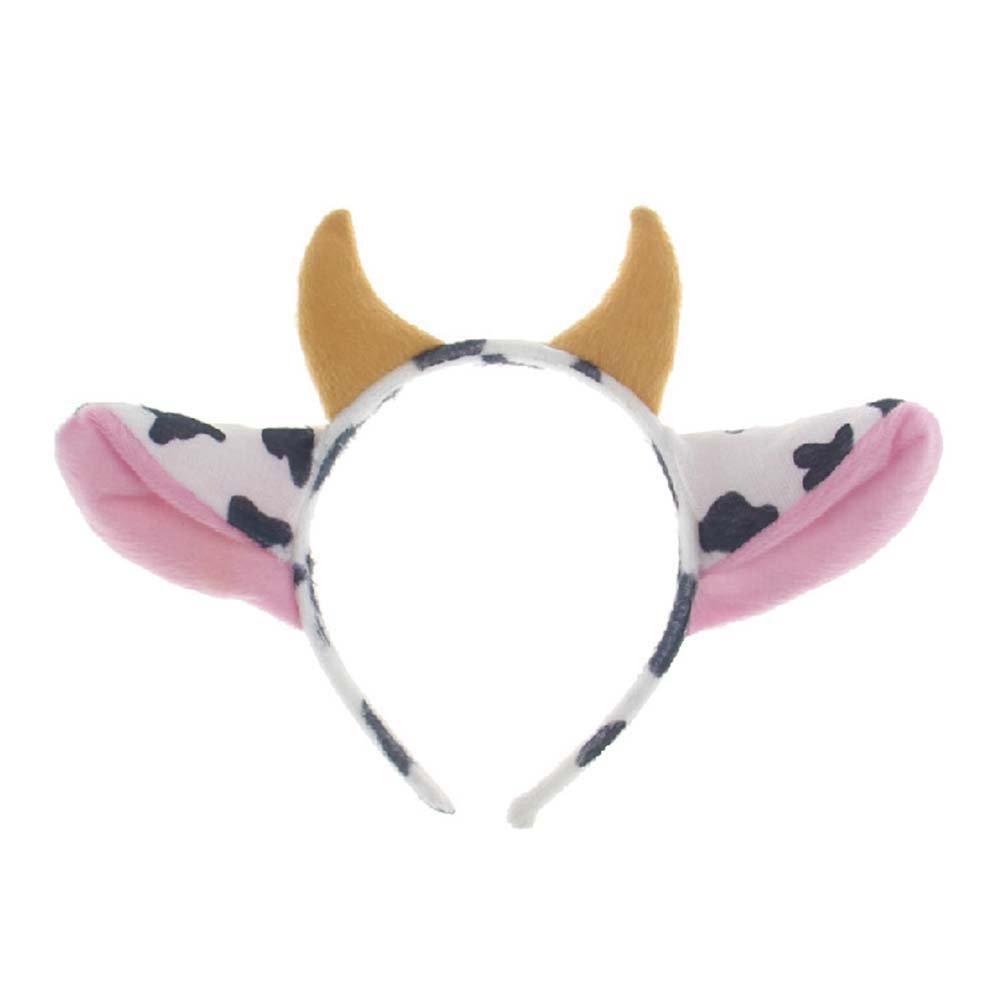 Orejas de vaca y cuernos diseño diadema Hairhoop Hair Accessiores para Party Show Performance
