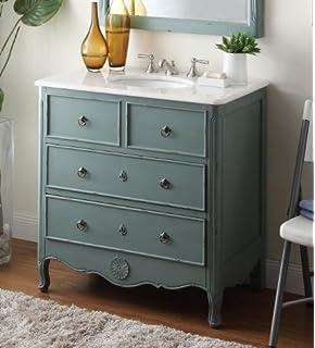34u201d Cottage Look Daleville Bathroom Sink Vanity   Model HF081Y (Vintage  Mint Blue)