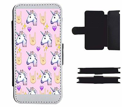 """Leder Flip Case Apple IPhone 6 plus/ 6S plus """"Rock n Roll Einhornkopf in Pink mit Herz"""", der wohl schönste Smartphone Schutz aller Zeiten."""