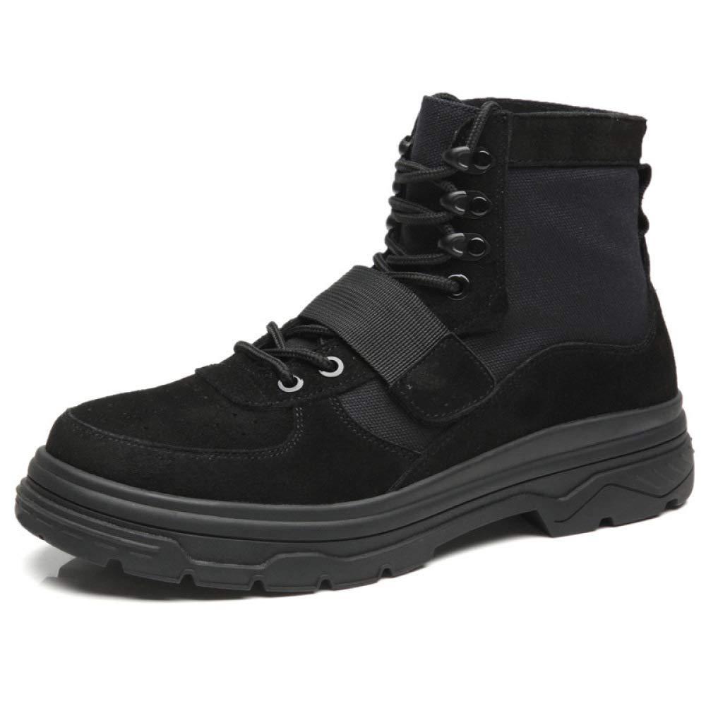 WANG-LONG Schuhe Herren Martin Stiefel Leder Retro High Top Trend Militärstiefel Für Den Herbst Und Winter Der Desert Schuhe Bearbeitet,schwarz-43