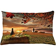 Lunarable Winery Throw Pillow Cushion Cover, White Wine with Barrel on Vineyard at Sunset in Chianti Tuscany Italy, Decorative Accent Pillow Case, 26 W X 16 L Inches, Apple Green Orange Brown