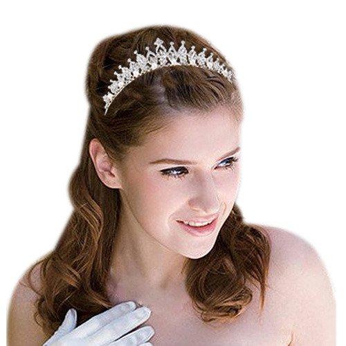 Clearine Femme Autrichien Cristal Victorian Style Perle Artificielle Bling Mariage Noces Couronne Triregnum Ton dargent