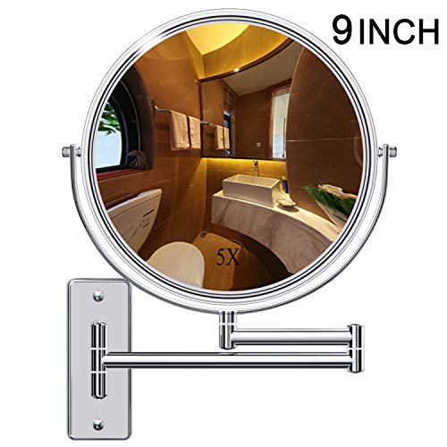 (Gospire Upgraded 9-Inch Enlarged Wall Mount Makeup Mirror with 5X Magnification Double-Sided Swivel Mirror,Polished Chrome Finished)