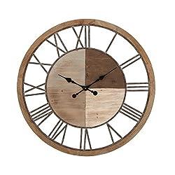 Benzara 47926 Antique Colonial Charming Wood Metal Clock