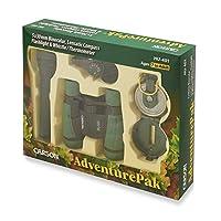 Carson AdventurePak que contiene binoculares de campo para niños de 30 mm, brújula de Lensatic, linterna y silbato de señal con termómetro incorporado (HU-401)