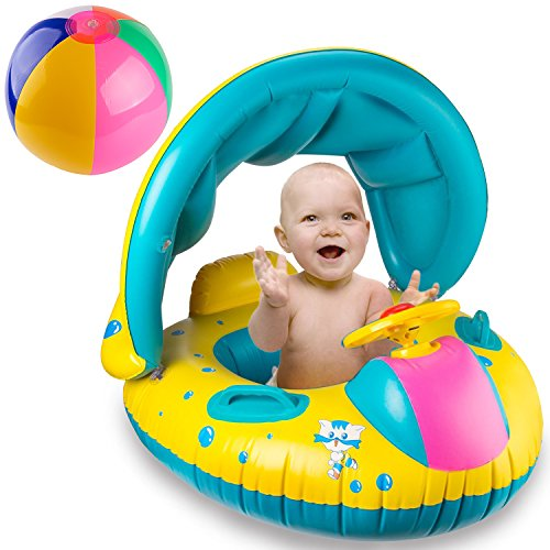 Price comparison product image R • HORSE Inflatable Baby Pool Float Swimming Ring with Sun Canopy for the Age 6-48 Months with Water-polo & Fluorescent Wristband
