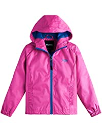 Girl's Windproof Lightweight Rain Jacket Hooded Raincoat Windbreaker For Camping Traveling