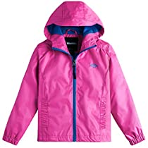 Wantdo Girls Lightweight Packable Rain Coat Hooded Waterproof Casual Jacket