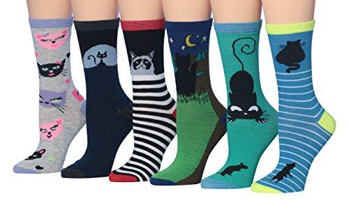 Tipi Toe Women's 6-Pairs Fun Funky Fashion Crew Animal Cat Socks, (sock size 9-11) Fits shoe size 5-9, WC51-B