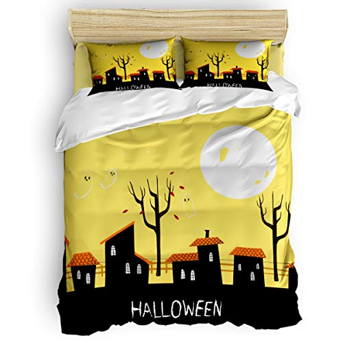 BABE MAPS 4 Piece Luxury Duvet Cover Bedding Sets Twin Halloween Ghost Town Breathable Bedroom Quilt Cover with Zipper Closure and 2 Pillow -