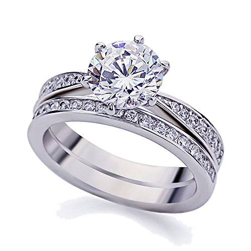 Platinum Bridal Sets (Platinum Plated Sterling Silver 2ct Round CZ Vintage 2pcs Engagement Ring Bridal Set ( Size 5 to 9 ),)