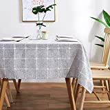AmHoo Checked Plaid Tablecloth Waterproof Rectanglar Lattice Table Covers for Kictchen Dining Indoor and Outdoor Decoration,60×84Inch,Light Gray