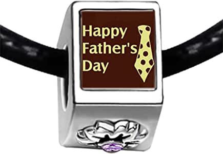 Chicforest Silver Plated Happy Father's Day tie Photo Light Amethyst Crystal June Birthstone Flower Charm Beads Fits Pandora Bracelet