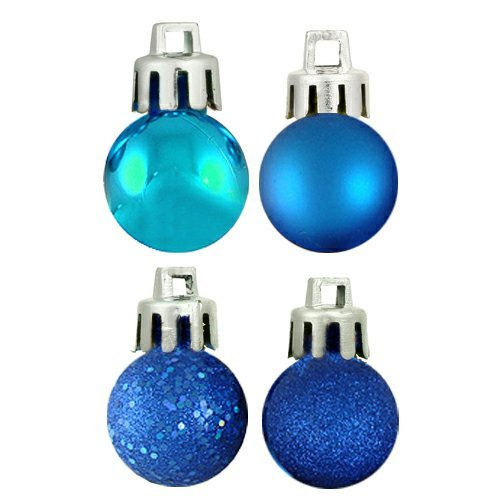 Vickerman 4-Finish Ornament Set, Includes 18 Per Box, 1-Inch, Blue -