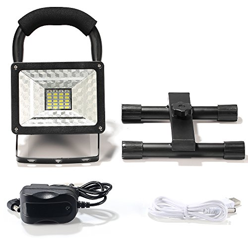 [15W 24LED] Rechargeable Work Light, BESWILL Outdoors Camping Emergency Light with SOS Mode, Portable Floodlight with Built-in Lithium Batteries and 2 USB Ports to Charge Digital Devices(Black) by BESWILL (Image #6)