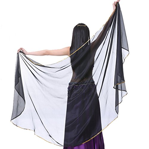 Belly Dance Chiffon Shawl Veil Scarf with Gold Edge, Belly Dance Costumes Accessories