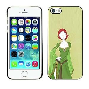 PC/Aluminum Funda Carcasa protectora para Apple Iphone 5 / 5S green medieval dress redhead girl spooky / JUSTGO PHONE PROTECTOR