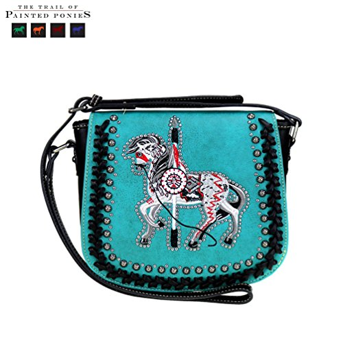 The Trail Of Painted Ponies Collection Crossbody Messenger Saddle Bag (Turquoise)