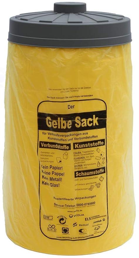 Cubo de basura amarillo con tapa, para soporte de bolsa ...