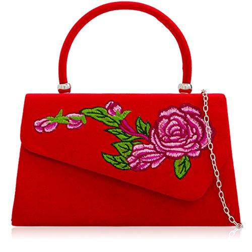 À Xardi Sac Femme Pochette Jeune Rouge Main Imitation Pour Floral Fille London Ou Daim rHETUqnrx