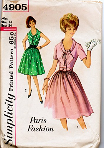 - Simplicity 4905 Misses One-Piece Step-in Dress with Scarf Collar, Buttoned Bodice, Flared Gathered Skirt Belt Vintage Sewing Pattern Size 14 Bust 34