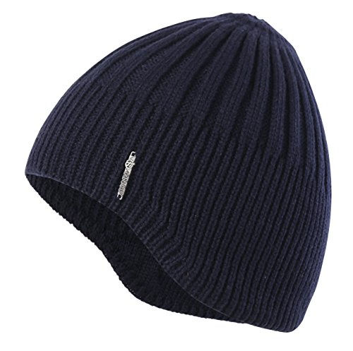 Home Prefer Boys Toddler Knit Beanie Winter Warm Skull Hat Ears Covers Navy Blue