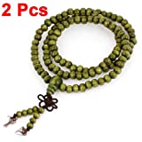 uxcell® 6mm Prayer Beads Buddhist Rosary Sandalwood Necklace Olive Green 2pcs