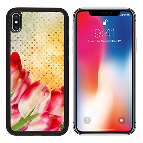MSD Premium Apple iPhone X Aluminum Backplate Bumper Snap Case Vintage text with tulips old paper background And also includes vector IMAGE 20615123