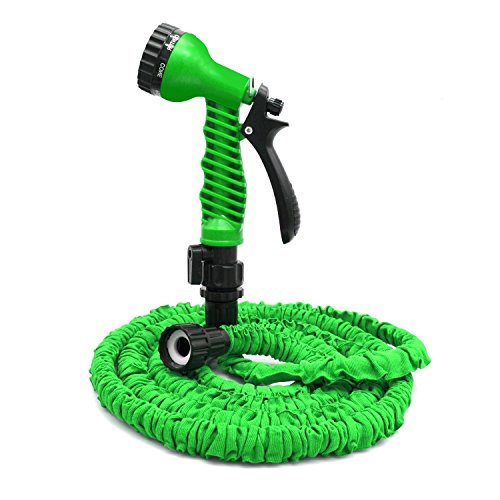 Flantor Garden Hose – 25ft Water Hose, Expandable Garden Hose with 7-Pattern Free Spray Nozzle,Collapsible Hose for Easy Home Storage (25ft, Green)