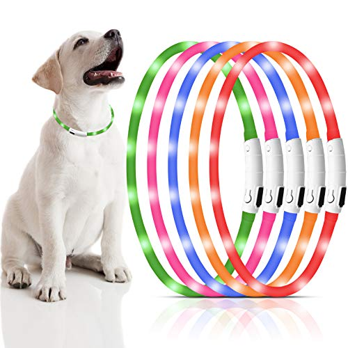 5 Pieces LED Dog Collar USB Rechargeable Light up Dog Collar Silicone Pet Safety Collar with 3 Glowing Modes Adjustable Pet LED Light Collar Cuttable for Small Medium Large Dogs at Night