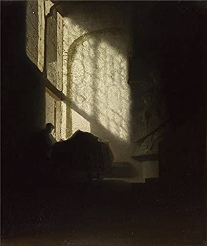 High Quality Polyster Canvas ,the Cheap But High Quality Art Decorative Art Decorative Canvas Prints Of Oil Painting 'Follower Of Rembrandt A Man Seated Reading At A Table In A Lofty Room ', 18 X 21 Inch / 46 X 54 Cm Is Best For Wall Art Decoration And Home Decoration And - Aqua Stripe Wall Sconce