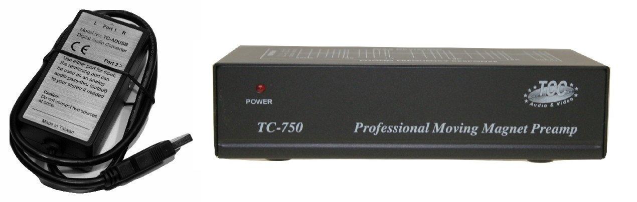 Technolink TC-750 Audiophile RIAA Phono Preamp, 85dB S/N, BLACK or SILVER, Your CHOICE (BLACK w/ USB)