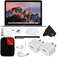 Apple 12 MacBook (Mid 2017 Silver) 256GB SSD (MNYH2LL/A) + MicroFiber Cloth + 2.4 GHz Slim Optical Wireless Bluetooth + Padded Case For Macbook Bundle
